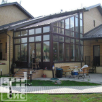 односкатный стиль конструкции зимнего сада оранжереи